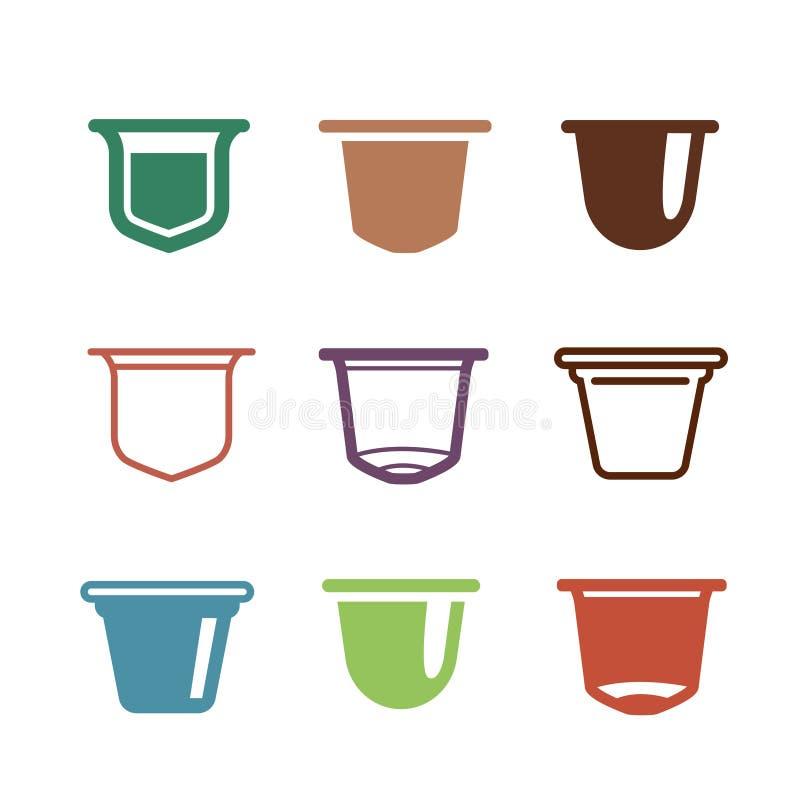 Insieme delle capsule del caffè Icone piane illustrazione di stock