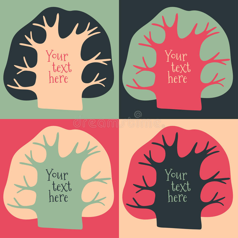 Insieme delle carte con gli alberi royalty illustrazione gratis