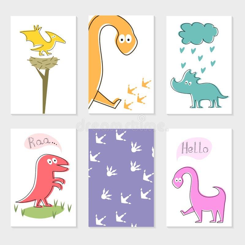Insieme delle carte con i dinosauri del fumetto royalty illustrazione gratis