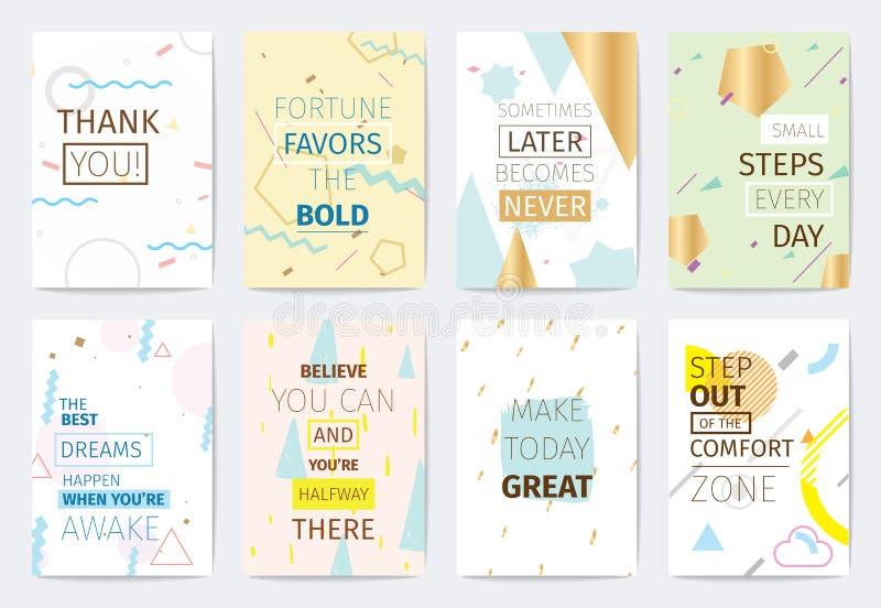 Insieme delle carte con le citazioni ispiratrici illustrazione di stock