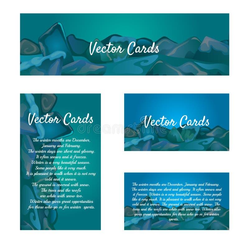 Insieme delle carte con un fondo del cubetto di ghiaccio illustrazione vettoriale