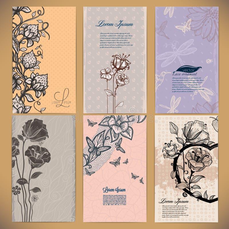 insieme delle carte d'annata con gli ambiti di provenienza dei fiori illustrazione vettoriale