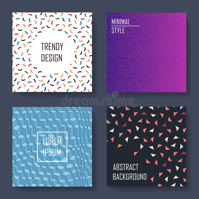 Insieme delle carte d'avanguardia variopinte - progettazione di arte Stile 80-90s di modo Coperture, insegne, alette di filatoio, illustrazione di stock