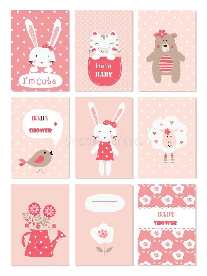 Insieme delle carte del bambino con gli animali e gli elementi svegli del fiore illustrazione di stock