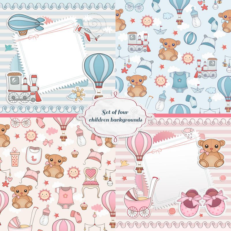 Insieme delle carte del bambino Progettazione di carta neonata illustrazione vettoriale