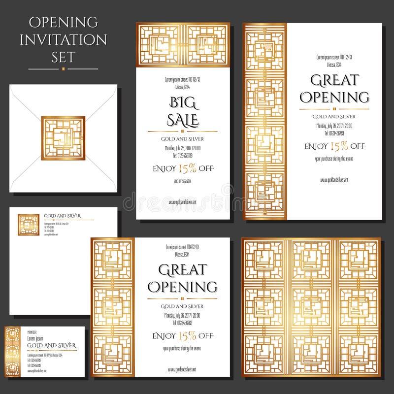 Insieme delle carte dell'invito con l'ornamento dell'oro Immagazzini l'apertura Raccolta: carte, busta, biglietto da visita fotografia stock