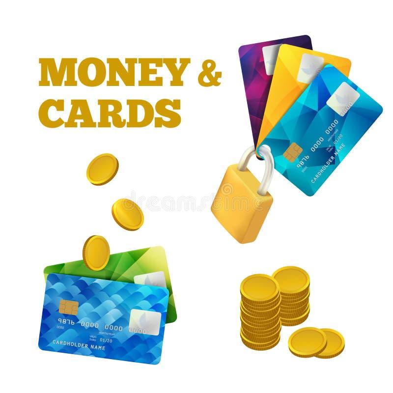 Insieme delle carte di credito variopinte isolate su bianco Illustrazione di vettore Icona Cashless di pagamento logo delle monet illustrazione di stock