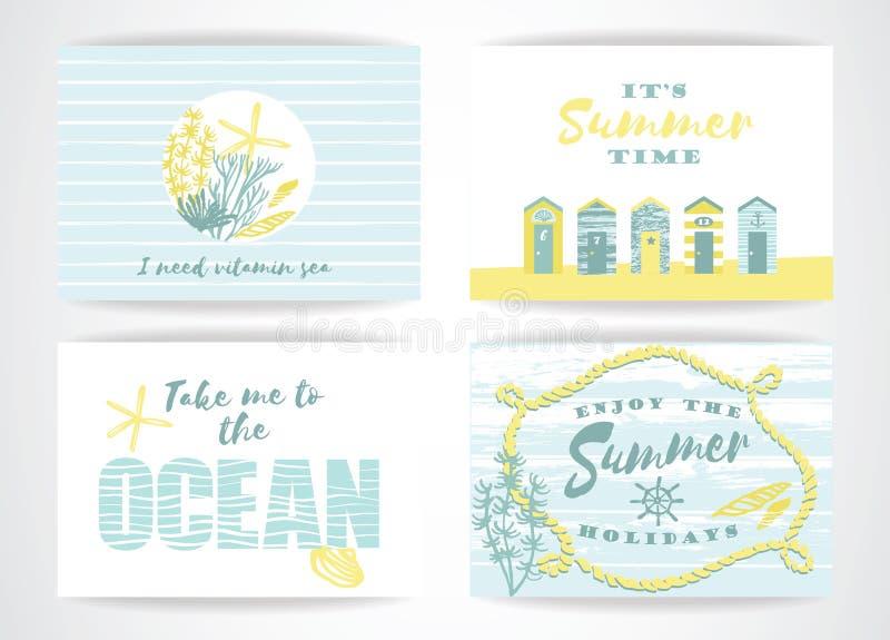 Insieme delle carte di estate con gli elementi del a mano disegno illustrazione di stock