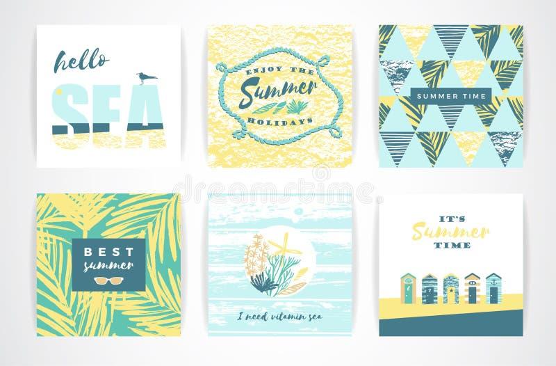 Insieme delle carte di estate con gli elementi del a mano disegno royalty illustrazione gratis