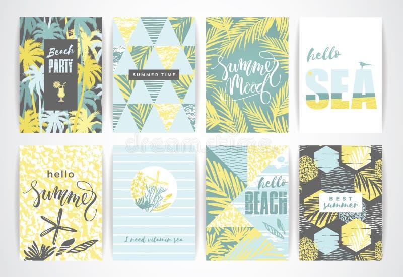 Insieme delle carte di estate con gli elementi del a mano disegno illustrazione vettoriale
