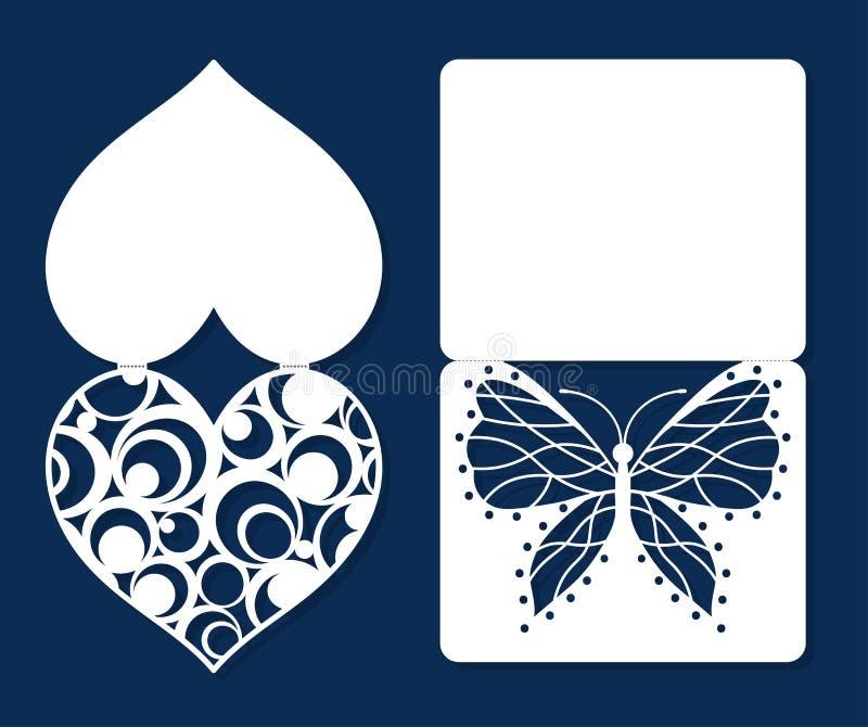 Insieme delle carte di festa di saluto di giorno di S. Valentino di impegno dell'invito di nozze royalty illustrazione gratis