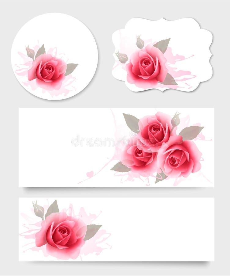 Insieme delle carte e delle insegne di regalo con i bei fiori illustrazione di stock