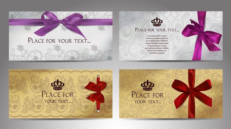 Insieme delle carte eleganti con gli elementi di progettazione floreale e gli archi del raso illustrazione vettoriale