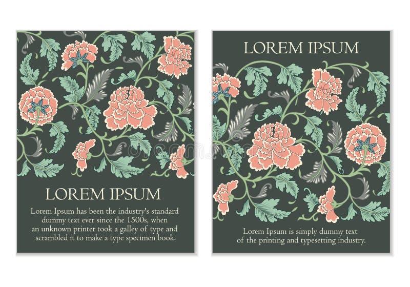 Insieme delle carte floreali con i fiori illustrazione di stock