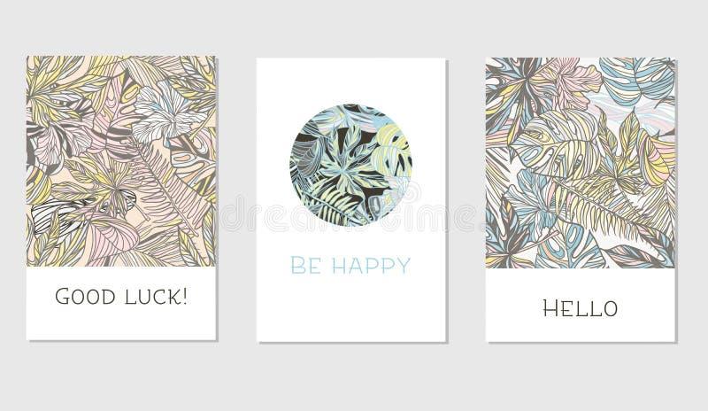 Insieme delle carte floreali universali creative nello stile tropicale illustrazione di stock