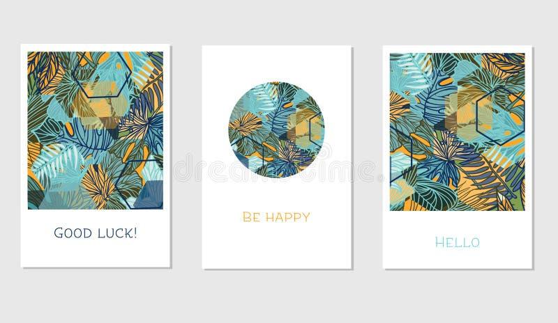 Insieme delle carte floreali universali creative nello stile tropicale royalty illustrazione gratis