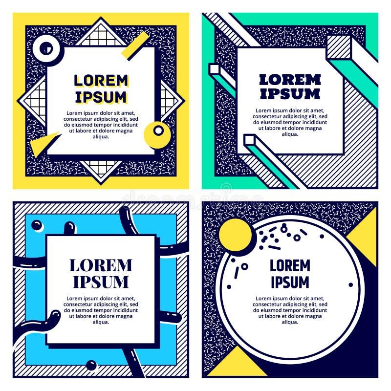 Insieme delle carte fresche di stile di Memphis Raccolta delle alette di filatoio geometriche Vettore illustrazione vettoriale