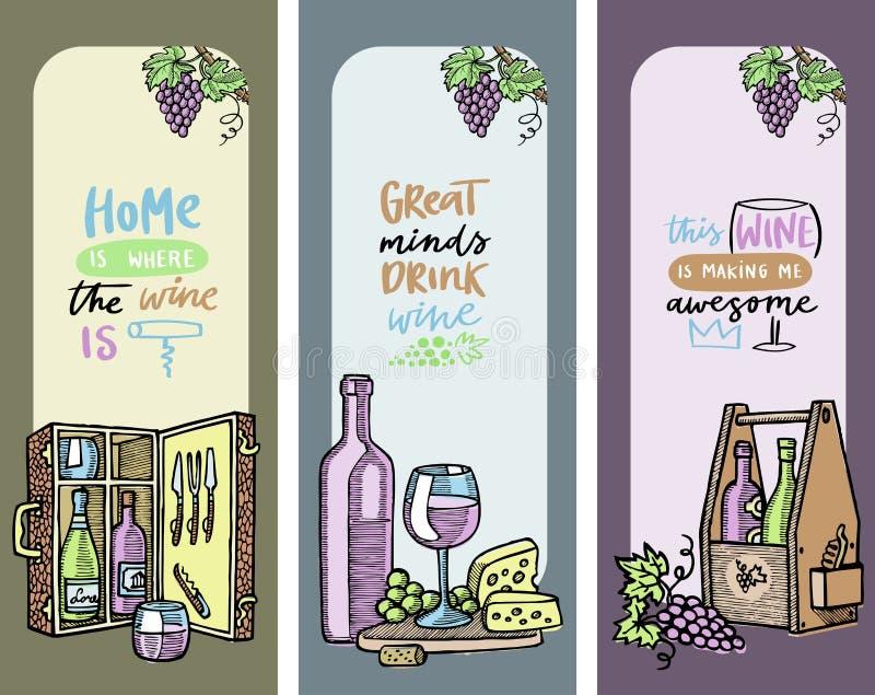 Insieme delle carte, illustrazione della cantina di vettore delle insegne Bottiglie con alcool, vetro, l'uva ed il formaggio La c royalty illustrazione gratis
