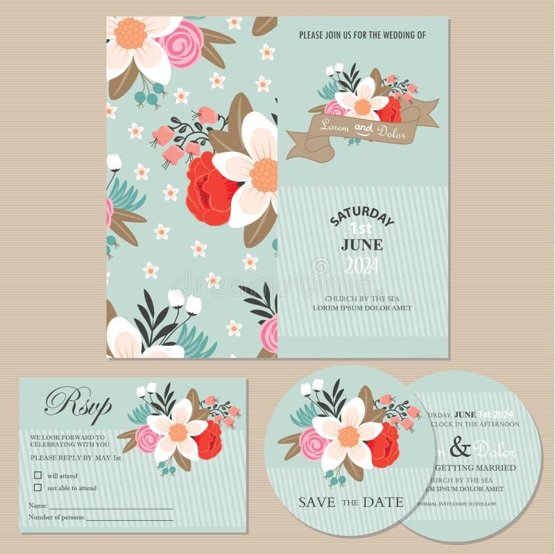 Insieme delle carte o degli annunci dell'invito di nozze con i fiori illustrazione vettoriale