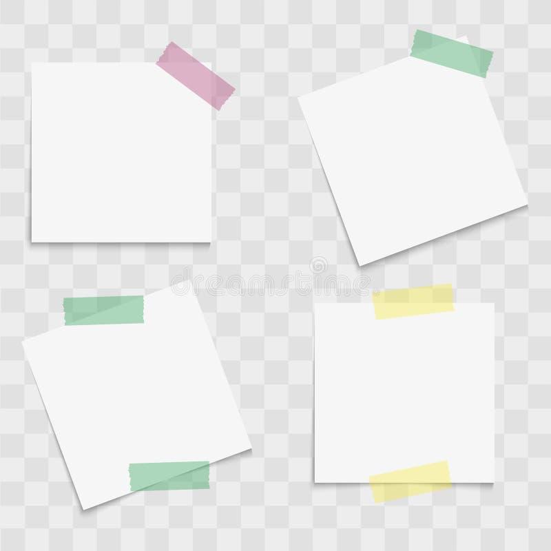 Insieme delle carte per appunti con nastri adesivi appiccicosi Vettore illustrazione di stock