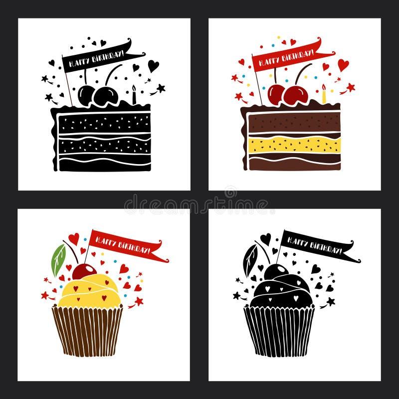 Insieme delle cartoline d'auguri di buon compleanno royalty illustrazione gratis