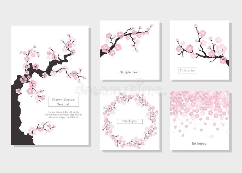 Insieme delle cartoline d'auguri e della carta dell'invito con il fiore di ciliegia royalty illustrazione gratis