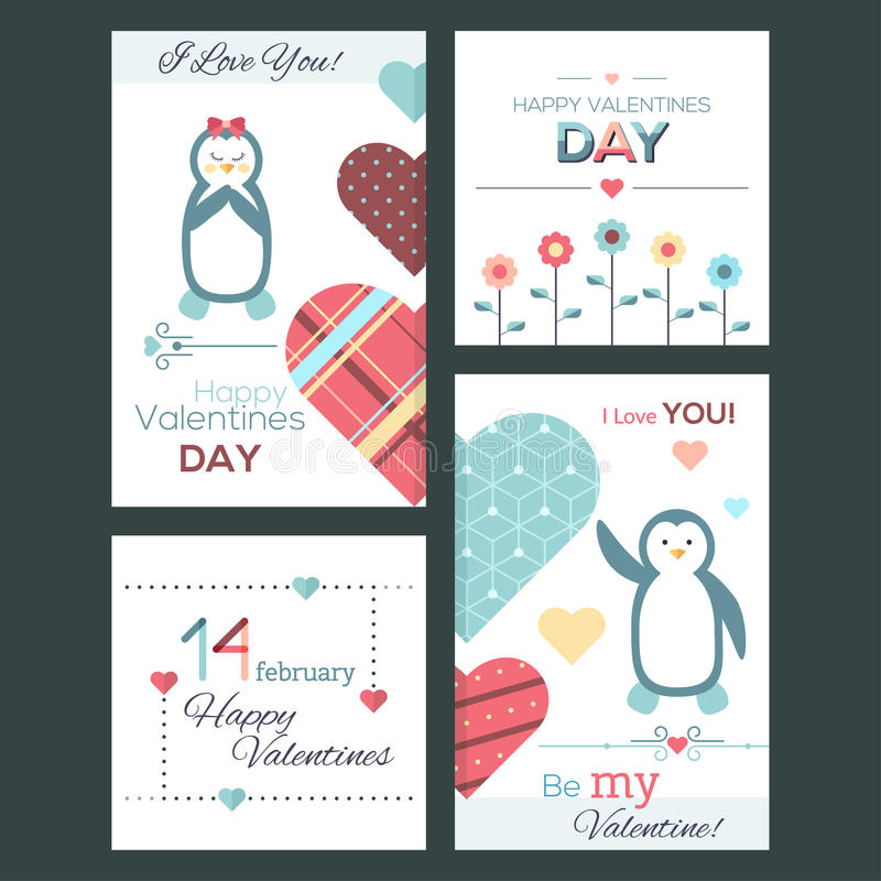 Insieme delle cartoline d'auguri e delle insegne felici di Valentine Day di progettazione piana illustrazione di stock