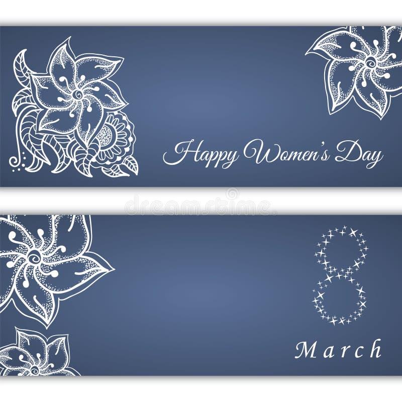 Insieme delle cartoline d'auguri o delle insegne di vettore per l'8 marzo con il posto per testo Giorno delle donne felici illustrazione di stock