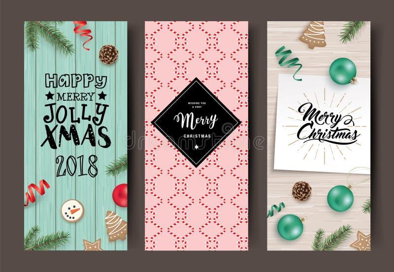 Insieme delle cartoline di Natale illustrazione vettoriale
