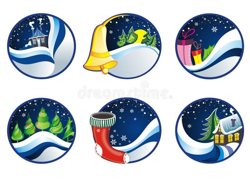 Insieme delle cartoline di Natale royalty illustrazione gratis