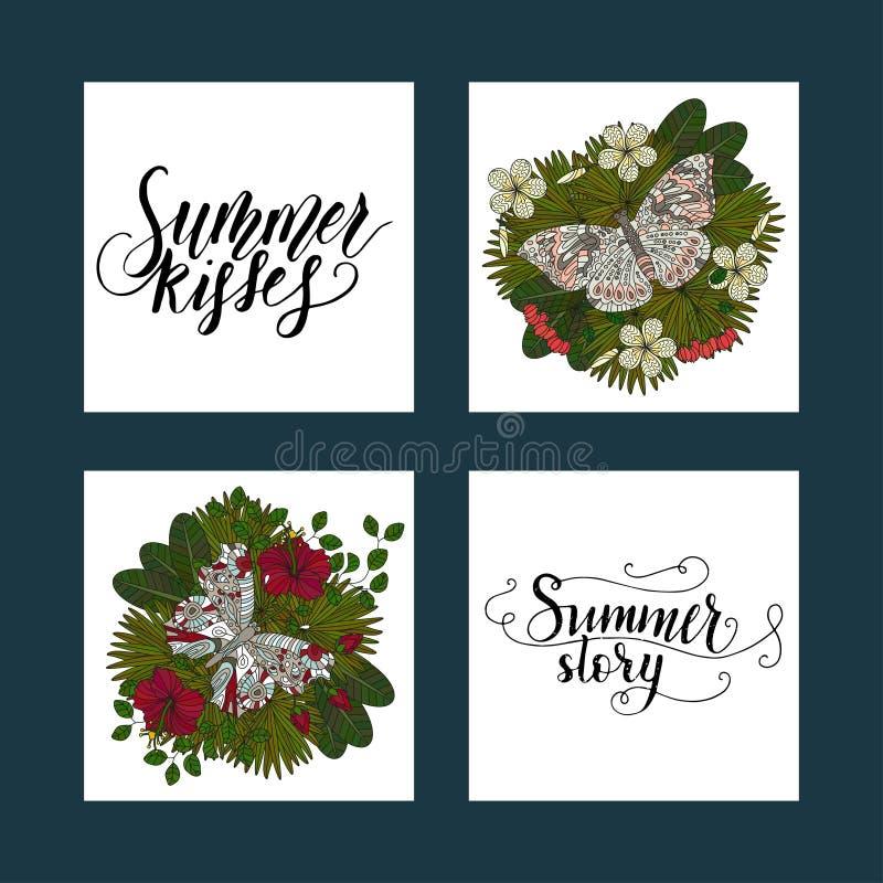 Insieme delle cartoline tropicali di estate con le illustrazioni tropicali dettagliate e le citazioni disegnate a mano dell'iscri illustrazione vettoriale