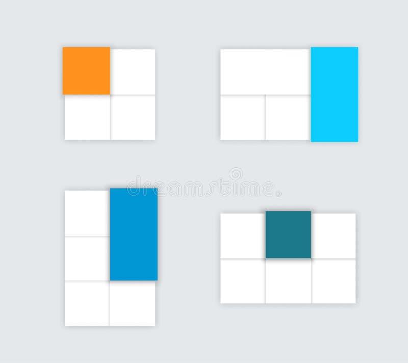 Insieme delle caselle di testo Colourful semplici di vettore con le ombre C illustrazione di stock