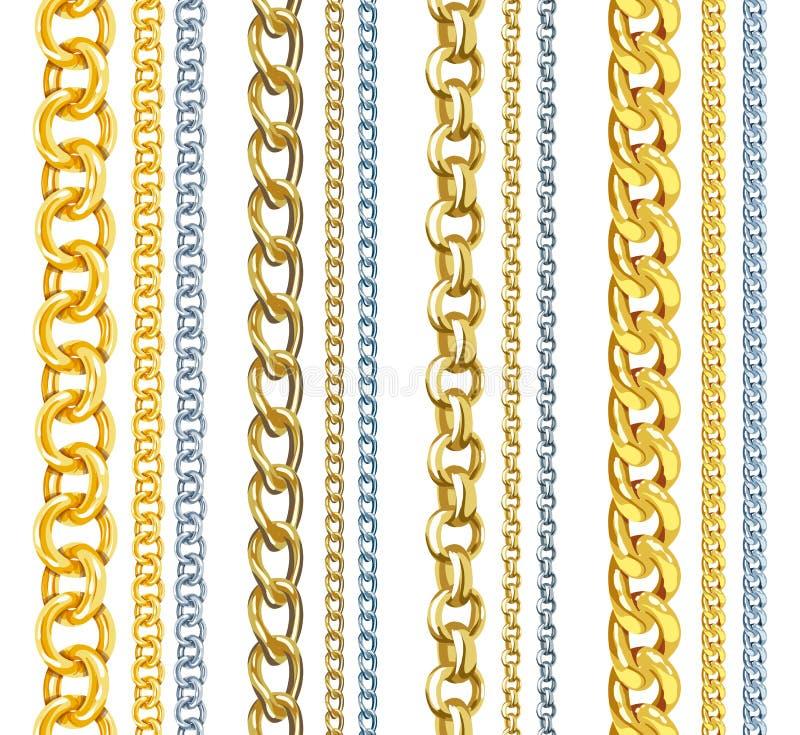 Insieme delle catene realistiche dell'oro e dell'argento di vettore royalty illustrazione gratis