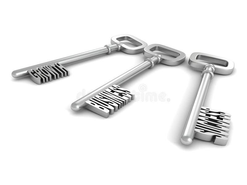 Insieme delle chiavi metalliche con il concetto di affari di parole illustrazione di stock