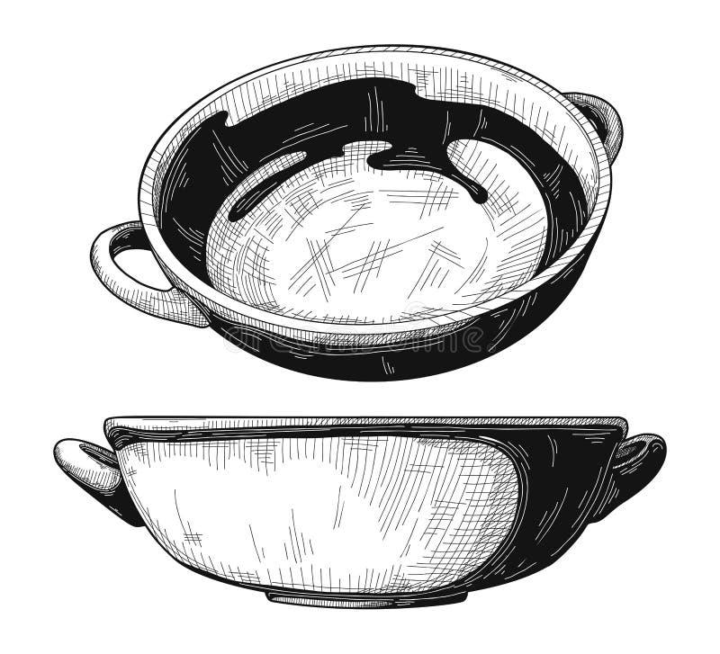 Insieme delle ciotole Ciotola isolata su fondo bianco Vettore illustrazione di stock