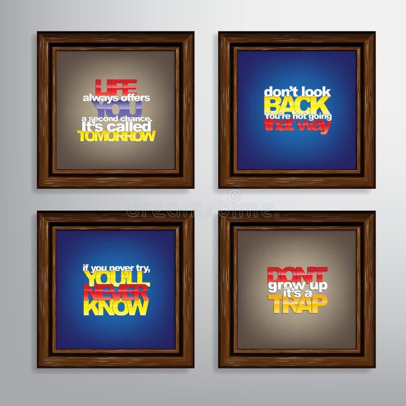 Insieme delle citazioni motivazionali illustrazione di stock