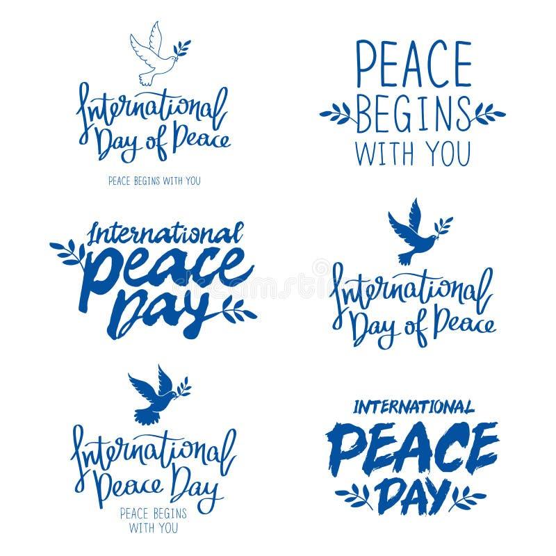 Insieme delle citazioni per il giorno internazionale di pace illustrazione vettoriale