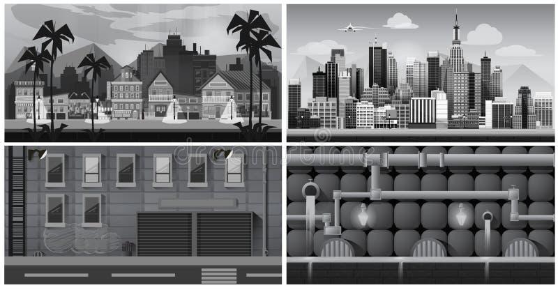 Insieme delle città in bianco e nero di panorama Indicatore luminoso di vettore art illustrazione di stock
