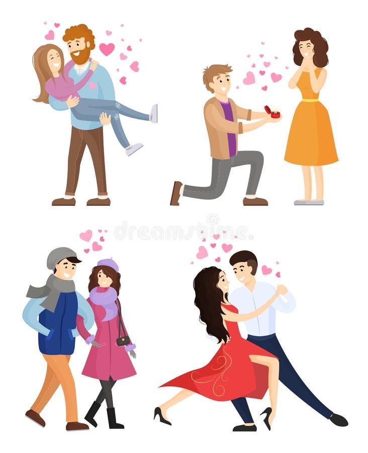 Insieme delle coppie nell'amore che abbraccia vettore di tango di ballo illustrazione di stock
