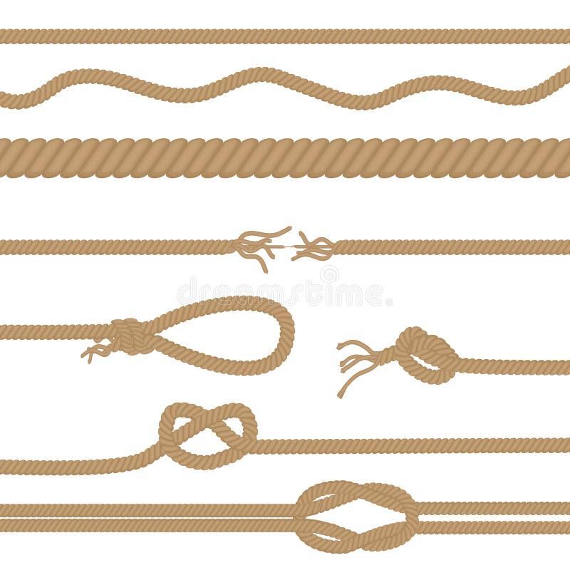 Insieme delle corde realistiche di marrone di vettore e delle spazzole dei nodi isolate illustrazione vettoriale