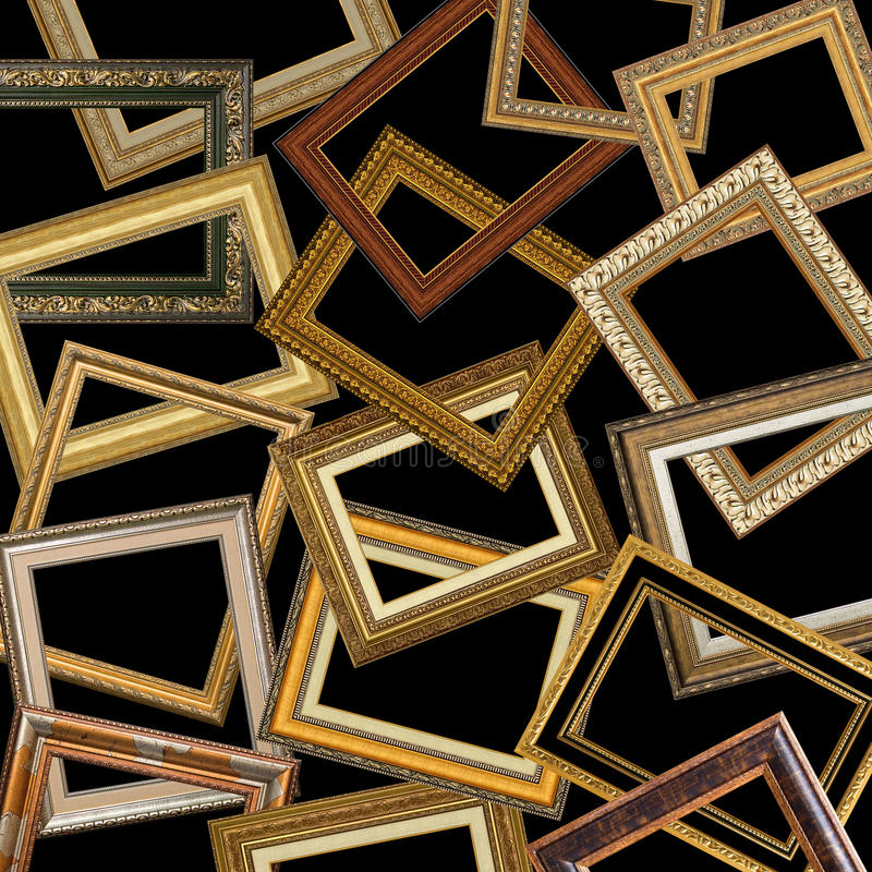 Insieme delle cornici dell'oro fotografia stock