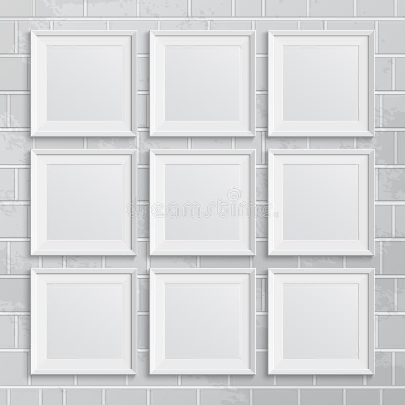 Insieme delle cornici quadrate sul muro di mattoni illustrazione di stock