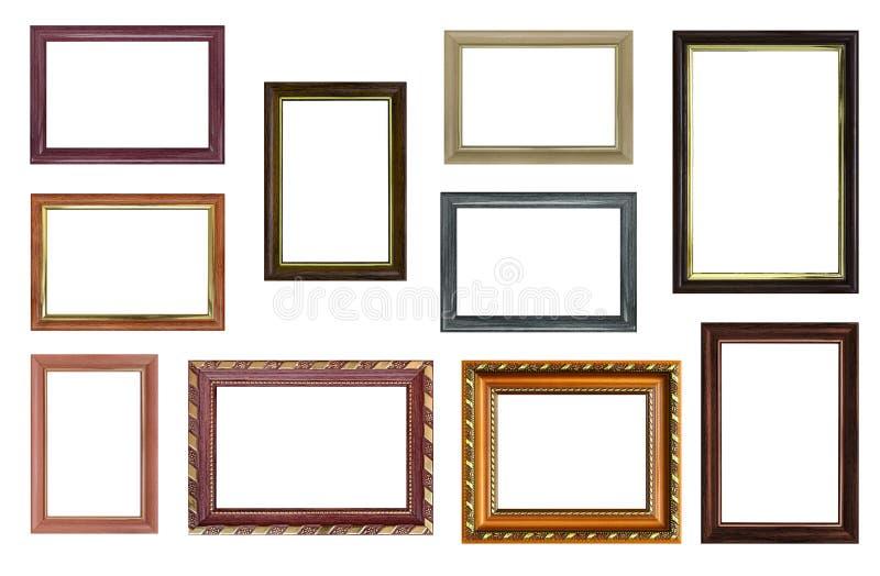 Insieme delle cornici vuote con spazio libero dentro, isolato sopra immagini stock libere da diritti