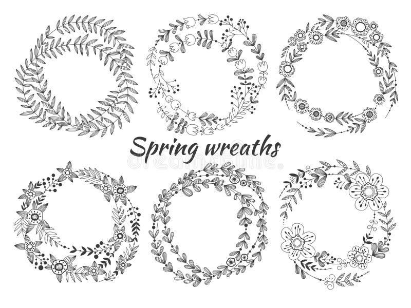 Insieme delle corone del fiore illustrazione vettoriale