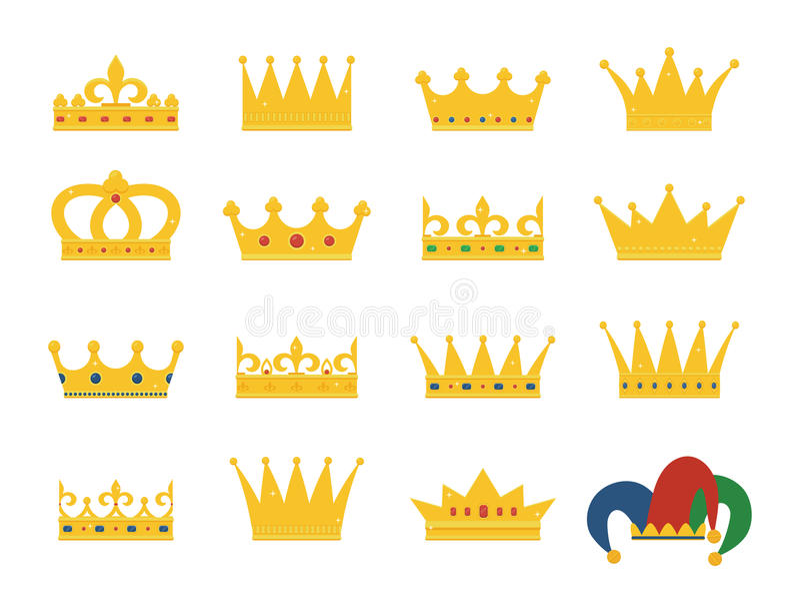 Insieme delle corone dell'oro e del cappello del ` s del giullare illustrazione di stock