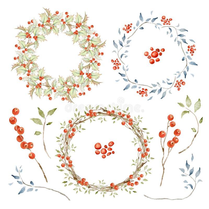 Insieme delle corone e di elementi di festa illustrazione di stock