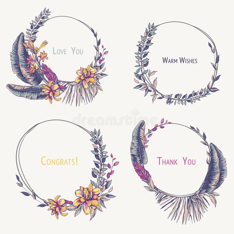 Insieme delle corone tropicali, fioritura naturale esotica di vettore dell'annata royalty illustrazione gratis