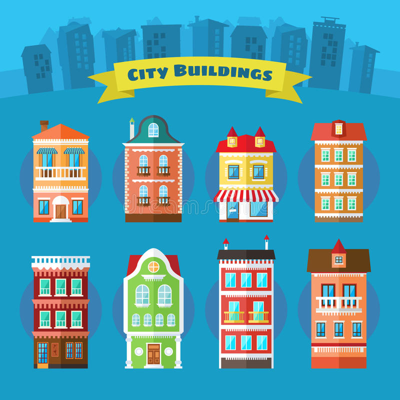 Insieme delle costruzioni della città e della città di vettore royalty illustrazione gratis