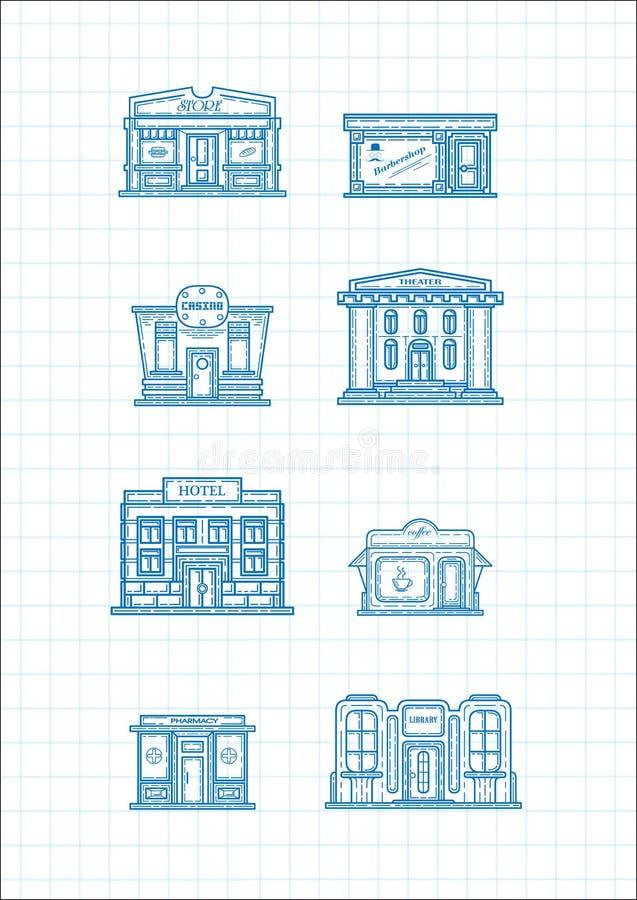 Insieme delle costruzioni e delle case di vettore Costruzione commerciale royalty illustrazione gratis