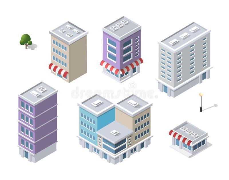 Insieme delle costruzioni isometriche moderne royalty illustrazione gratis